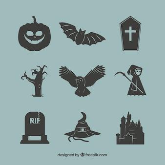 Schwarze halloween-elemente