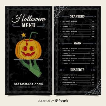 Schwarze halloween menüvorlage