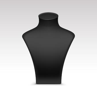 Schwarze halskette schaufensterpuppe ständer für schmuck nahaufnahme isoliert auf weiß