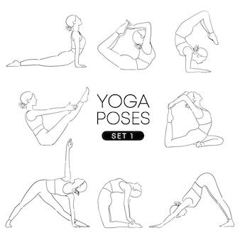 Schwarze hand gezeichnet von einem mädchen in vielen verschiedenen yoga-posen, isoliert auf weiss.