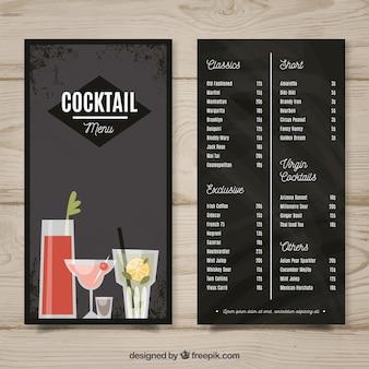 Schwarze hand gezeichnete menüschablone für cocktails