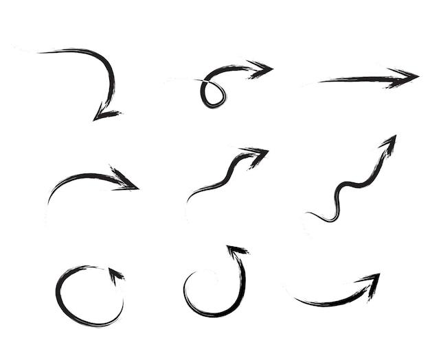 Schwarze hand gezeichneter pinselstrichpfeilsatz lokalisiert auf weiß. vektor-illustration eps10