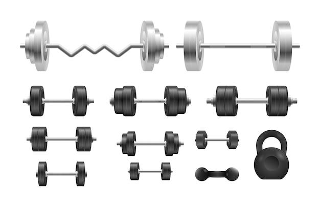 Schwarze hantel aus metall 3d. langhantel, hantel. stahlhanteln für bodybuilding, fitness.