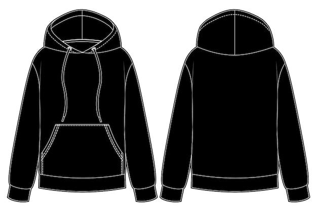 Schwarze herren- und damen-hoodies vorne hinten mit känguru-tasche vorne