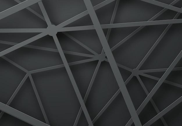 Schwarze hintergrundschablone mit sich kreuzenden linien mit schatten.