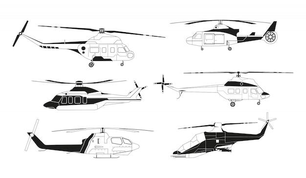 Schwarze hubschrauber silhouetten. avia transport