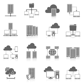 Schwarze icons des hostingservice eingestellt