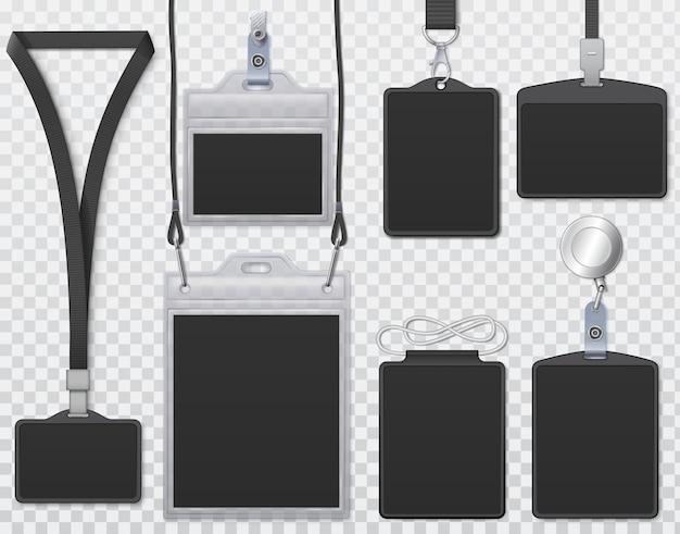 Schwarze id-karten-abzeichen. vorlagenidentitäts-geschäftsabzeichen für name, kartenbüro-id, schwarzes kartenmodell der konferenzgesellschaft. vektor-illustration