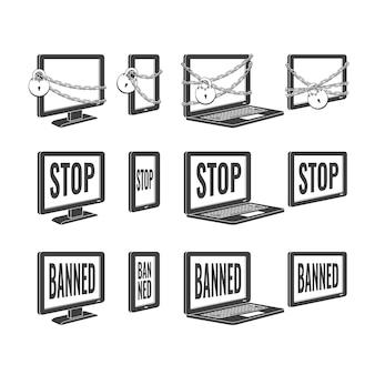 Schwarze ikone des verbotenen konzeptentwurfs des internet-website-zugangs stellte mit laptop, tabletten und tischplattenmonitoren mit stoppmitteilung, kette mit verschluss ein. web-verbotsymbol, globales kommunikationsproblem