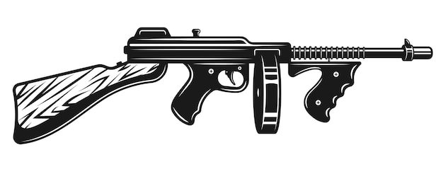 Schwarze illustration der gangster-maschinenpistole, isoliert auf weiß