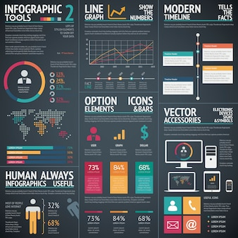 Schwarze infografische vektorvorlage elemente datenvisualisierung