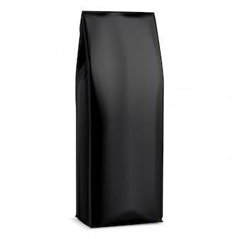 Schwarze kaffeetasche. folienverpackung. 3d beutel