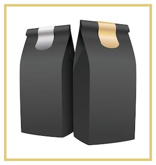 Schwarze kaffeeverpackung