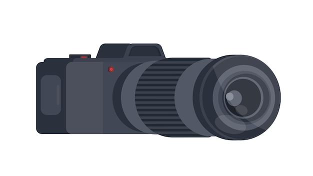 Schwarze kamera in 3d. die kamera ist auf einem weißen hintergrund isoliert.