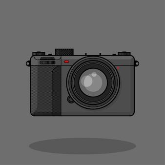 Schwarze kamera mirrorles vintage flache karikatur handgezeichnete vektor isoliert