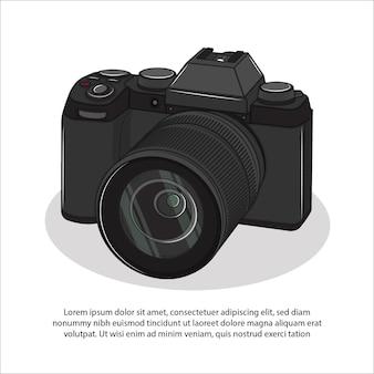 Schwarze kamera mit objektiv für foto