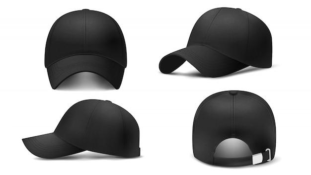 Schwarze kappe in verschiedenen ansichten, realistisches 3d