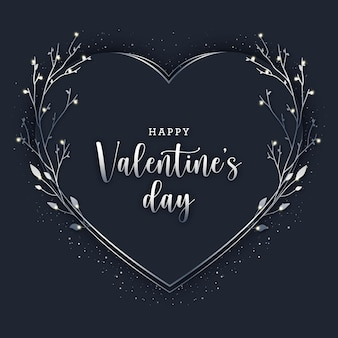 Schwarze karte des eleganten valentinstags mit silbernen elementen