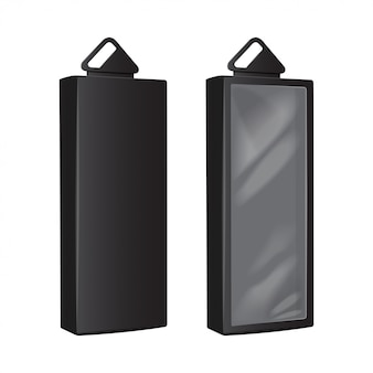Schwarze kartons mit kunststoff-hängeloch. realistische verpackung. software-box