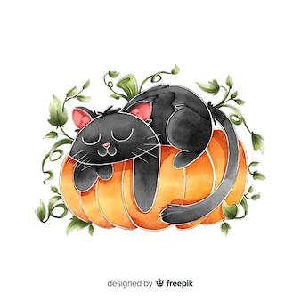 Schwarze katze aquarellhalloweens, die auf einem kürbis schläft