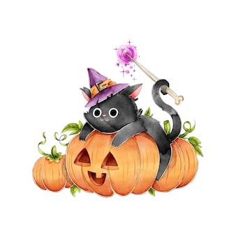 Schwarze katze auf einem kürbis glücklichen halloween