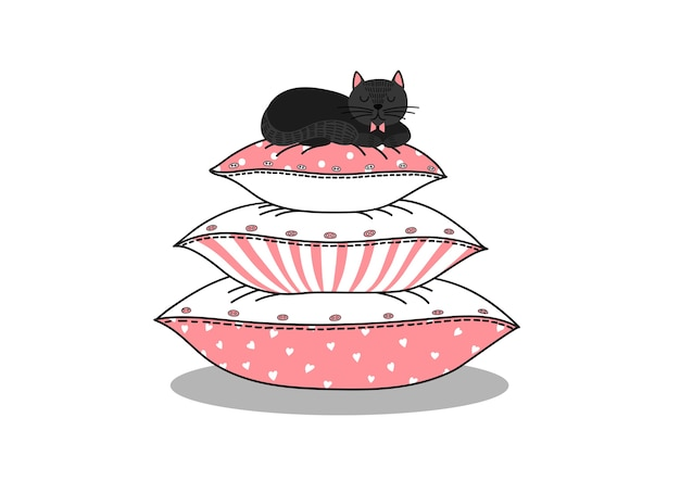 Schwarze katze, die auf kissenstapel schläft.