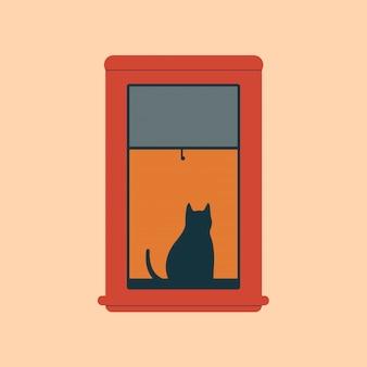 Schwarze katze, die nahe offenes rotes fenster am abend sitzt. illustration