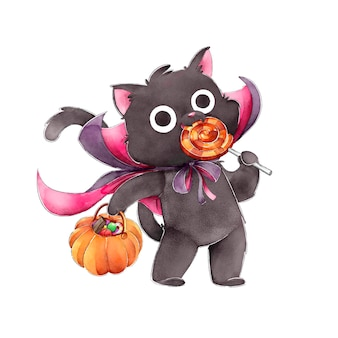 Schwarze katze, die süßigkeiten fröhliches halloween isst
