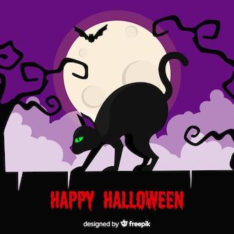 Schwarze katze halloweens mit flachem design