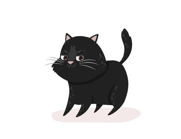 Schwarze katze hat etwas empfangen