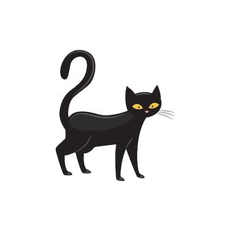 Schwarze katze mit gelben augen und flacher vektorillustration des langen schwanzes lokalisiert