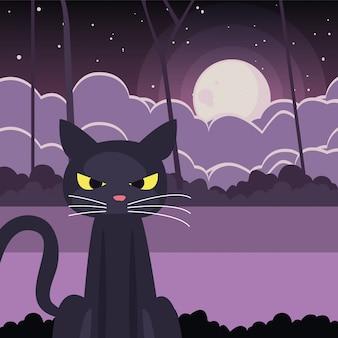 Schwarze katze mit mond in der szene von halloween
