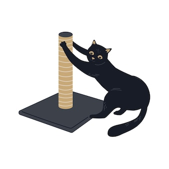 Schwarze katze und der kratzbaum. katze schärft ihre krallen. vektor süßes charakterdesign
