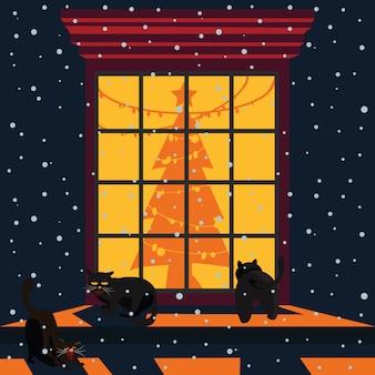 Schwarze katzen an der weihnachtsfenster-vektorillustration