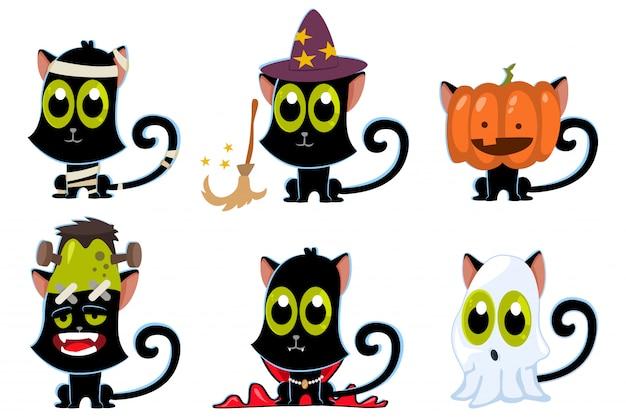 Schwarze katzen in halloween-kostümen: zombies, geist, kürbis, vampir, hexe und mumie.