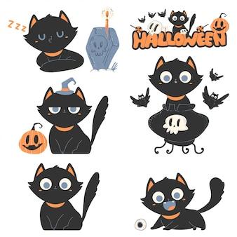 Schwarze katzen vektor cartoon niedlichen haustiere charaktere für halloween isoliert.