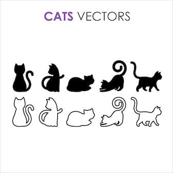 Schwarze katzensilhouette und schwarze katzenkontur
