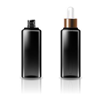 Schwarze, klare, quadratische kosmetikflasche mit tropferdeckel aus weißkupfer für schönheit oder ein gesundes produkt.