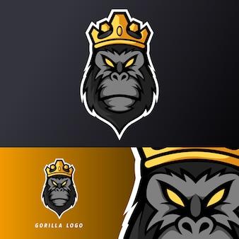Schwarze königgorillaaffenaffe-maskottchensport-esport-logoschablone für ausläuferteam