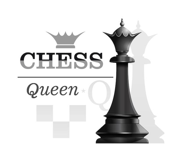 Schwarze königin auf dem hintergrund der schachbrettschattenbild. schachkonzeptdesign. illustration