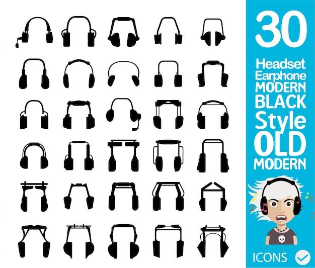Schwarze kopfhörersammlung