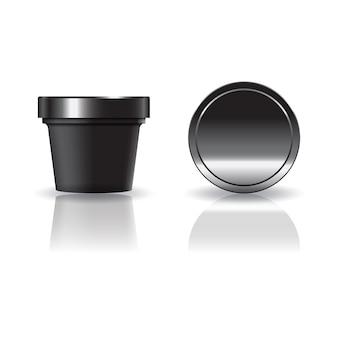 Schwarze kosmetik- oder nahrungsmittelrunde schale mit deckel.