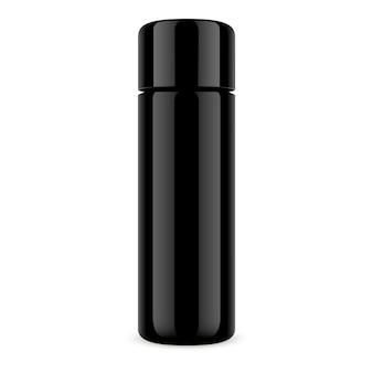 Schwarze kosmetikflasche dry shampoo jar