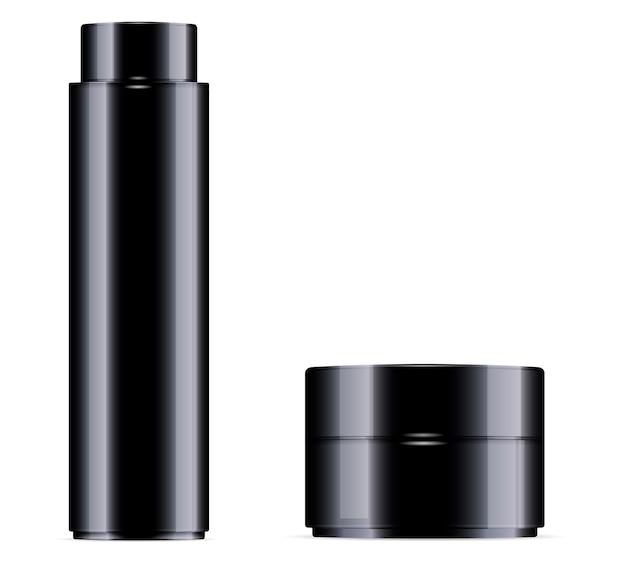 Schwarze kosmetikflasche für toner