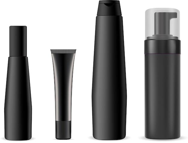 Schwarze kosmetikflasche, pumpspender-kunststoffbehälter. kosmetik-creme-tube-set
