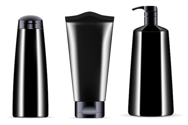 Schwarze kosmetikflasche