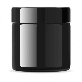 Schwarze kosmetische creme dose, gesichtslotion verpackung