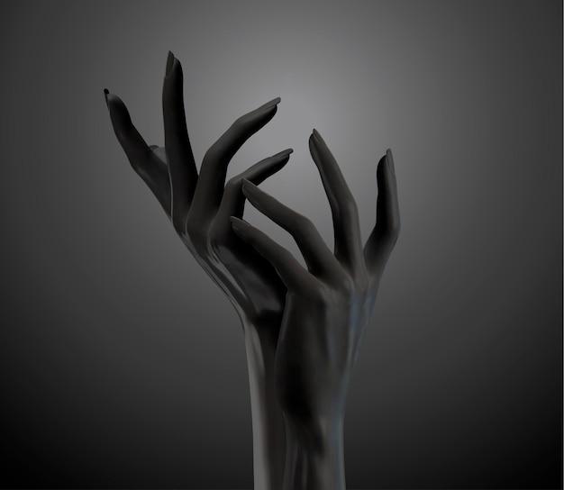 Schwarze kosmetische elegante hände gestikulieren in der 3d-illustration