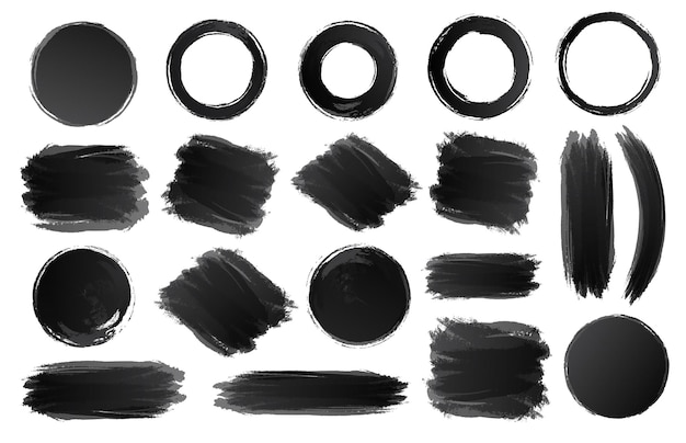 Schwarze kreise und formen gesetzt