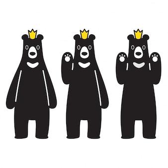 Schwarze krone des bärenvektor-eisbären